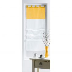 Duo Two-Tone Tie Up Voile Blind with Tab Top - White & Yellow