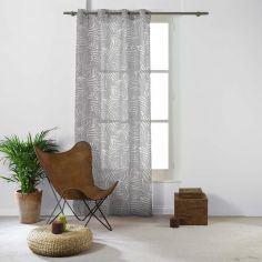 Eucalys Printed Eyelet Voile Curtain Panel - Charcoal Grey