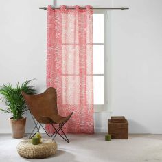 Eucalys Printed Eyelet Voile Curtain Panel - Coral Pink