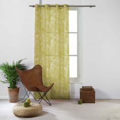 Eucalys Printed Eyelet Voile Curtain Panel - Yellow