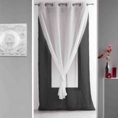 Duni Plain Double Voile Curtain Panel with Eyelets - Black & White