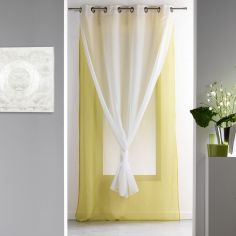 Duni Plain Double Voile Curtain Panel with Eyelets - Green & White