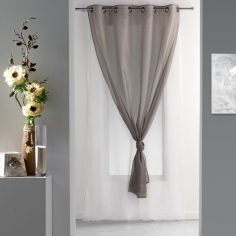 Duni Plain Double Voile Curtain Panel with Eyelets - White & Taupe