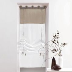 Duo Two-Tone Tie Up Voile Blind with Tab Top - White & Taupe