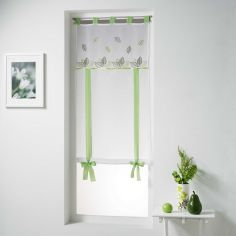 Anya Tie Up Voile Blind With Embroidered Leaves - White & Green