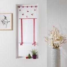 Cherry Embroidered Tie Up Voile Blind with Tab Top - Red