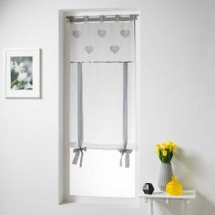 Cory Hearts Tie Up Voile Blind with Tab Top - White & Grey