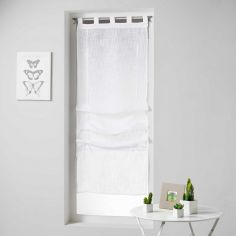 Haltona Woven Linen Effect Tie Up Voile Blind with Tab Top - White