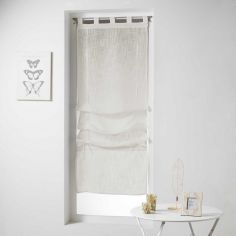 Haltona Woven Linen Effect Tie Up Voile Blind with Tab Top - Natural