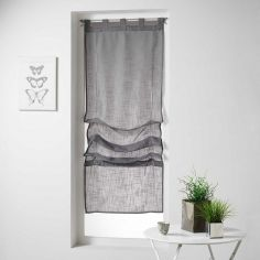Haltona Woven Linen Effect Tie Up Voile Blind with Tab Top - Grey