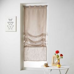 Haltona Woven Linen Effect Tie Up Voile Blind with Tab Top - Hazelnut Brown