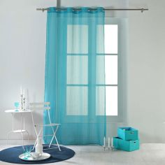 Horizon Striped Eyelet Voile Curtain Panel - Blue