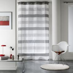 Kelly Organza Striped Eyelet Voile Curtain Panel - Grey
