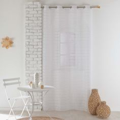 Riane Striped Voile Curtain Panel with Eyelets - White