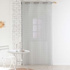 Riane Striped Voile Curtain Panel with Eyelets - Silver Grey