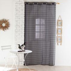 Riane Striped Voile Curtain Panel with Eyelets - Charcoal Grey