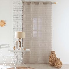 Riane Striped Voile Curtain Panel with Eyelets - Hazelnut Natural