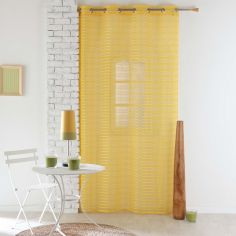 Riane Striped Voile Curtain Panel with Eyelets - Yellow