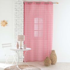 Riane Striped Voile Curtain Panel with Eyelets - Coral Pink
