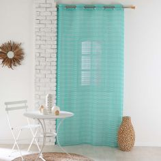 Riane Striped Voile Curtain Panel with Eyelets - Mint Blue