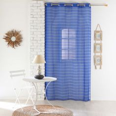 Riane Striped Voile Curtain Panel with Eyelets - Indigo Blue