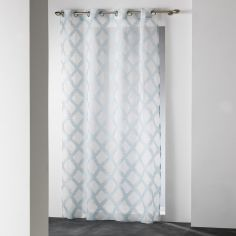 Mood Geometric Eyelet Voile Curtain Panel - Duck Egg Blue
