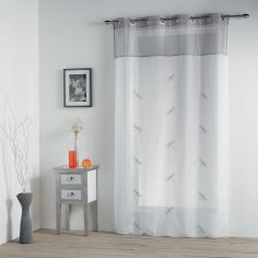 Libellula Embroidered Eyelet Voile Curtain Panel - Grey