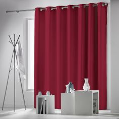 Occult Plain Blackout Eyelet Single Curtain Panel - Red