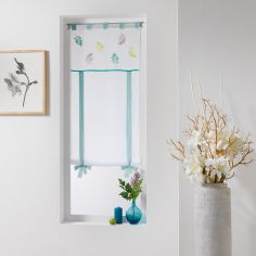 Feuilly Tie Up Voile Blind with Tab Top - White & Blue