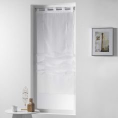 Horizon Striped Tie Up Voile Blind with Tab Top - White