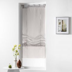 Horizon Striped Tie Up Voile Blind with Tab Top - Taupe