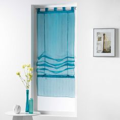 Horizon Striped Tie Up Voile Blind with Tab Top - Blue