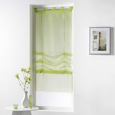Horizon Striped Tie Up Voile Blind with Tab Top - Lime Green