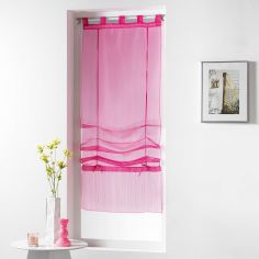 Horizon Striped Tie Up Voile Blind with Tab Top - Pink