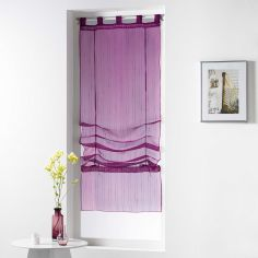 Horizon Striped Tie Up Voile Blind with Tab Top - Plum Purple