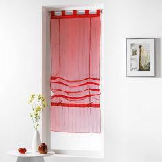 Horizon Striped Tie Up Voile Blind with Tab Top - Red