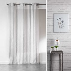 Lali White Eyelet Voile Curtain Panel with Vertical Stripes