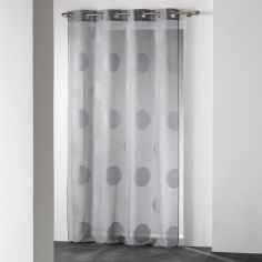 Odyssee Circles Voile Curtain Panel with Eyelets - Grey