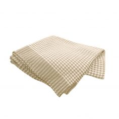 Dog Tooth 100% Cotton Throw - Natural