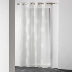Odyssee Circles Voile Curtain Panel with Eyelets - Ivory