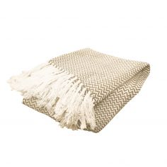 Zig Zag 100% Cotton Tasselled Throw - Natural