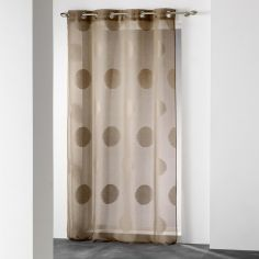 Odyssee Circles Voile Curtain Panel with Eyelets - Brown