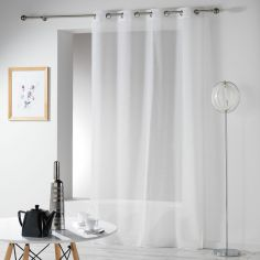 Telma Crushed Look Eyelet Voile Curtain Panel - White
