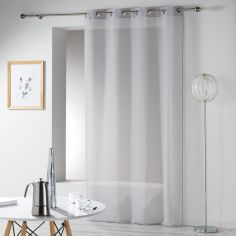 Telma Crushed Look Eyelet Voile Curtain Panel - Silver Grey