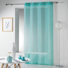 Telma Crushed Look Eyelet Voile Curtain Panel - Blue
