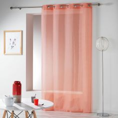 Telma Crushed Look Eyelet Voile Curtain Panel - Coral Pink