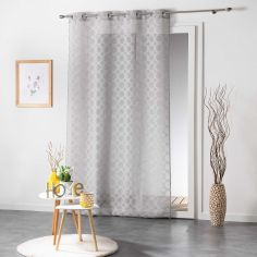 Soledad Circle Voile Curtain Panel with Eyelets - Grey