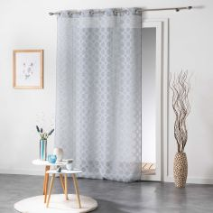 Soledad Circle Voile Curtain Panel with Eyelets - Blue