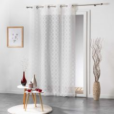 Soledad Circle Voile Curtain Panel with Eyelets - White