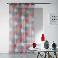 Odaly Eyelet Voile Curtain Panel with Printed Circles - Grey & Red